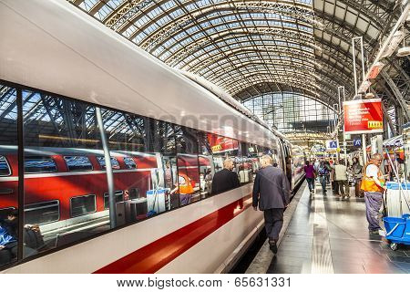 People Hurry To Train At Frankfurt Railway Station