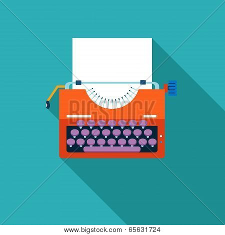 Retro Vintage Creativity Symbol Typewriter and Paper Sheet Icon on Stylish Color Background  Design