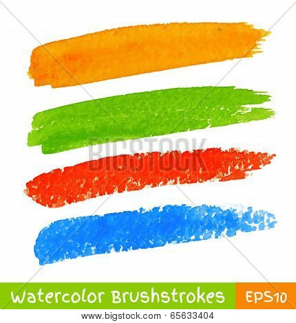 Set of Colorful Watercolor Brush Strokes
