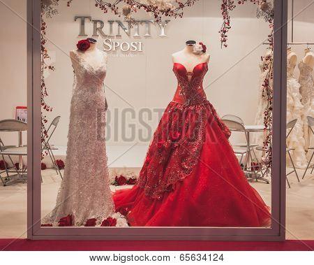 Elegant Ceremony Dresses On Display At Si' Sposaitalia In Milan, Italy