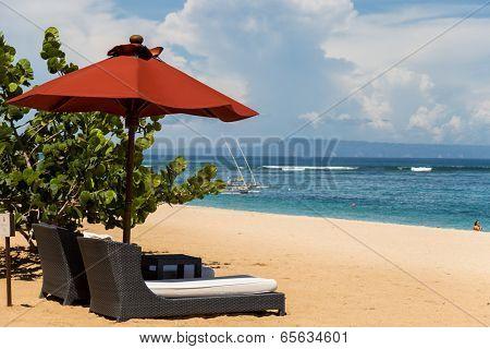 Beach Umbrellas On A Beautiful Beach In Bali