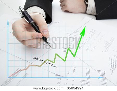 Businessman Holding A Pen And Counts The Budget And Diagram
