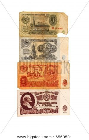 Set From Four Old Soviet Banknotes