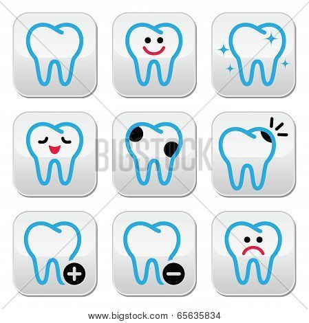 Tooth, teeth vector icons set in color