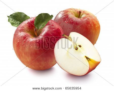 Two Red Apples And Quarter Isolated On White Background