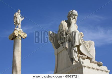 Statues Of Socrates And Apollo In Athens, Greece