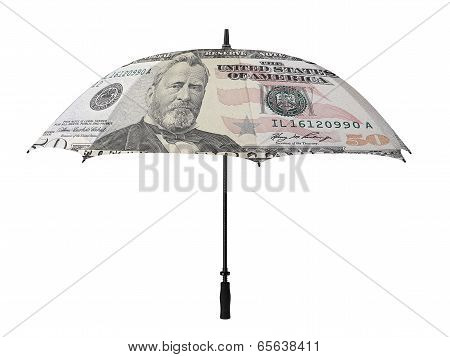 Business Concept: Umbrella With A Fifty Dollar Bill -verso