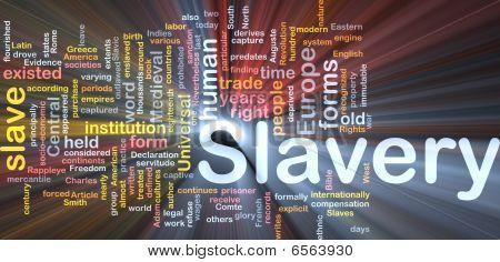 Escravidão palavra nuvem caixa pacote