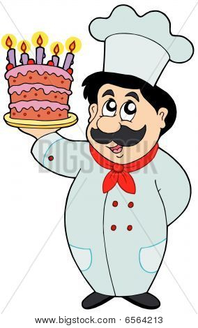 Cartoon chef with cake