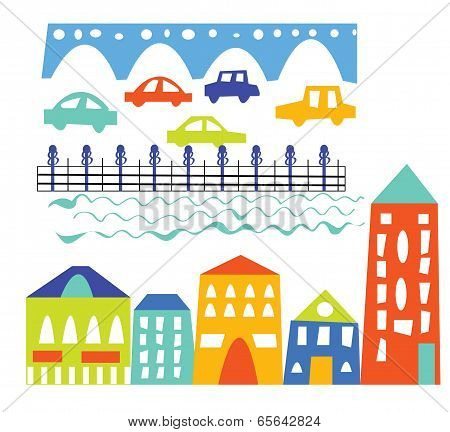 City elements - houses cars bridge