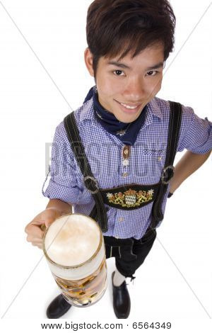 Young Happy Man Holding Oktoberfest Beer Stein (mass) In In Camera