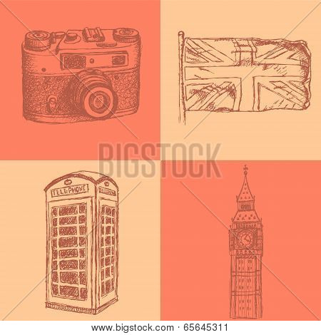 Sketch Photo Camera, Phone Cabin, Uk Flag And Big Ben, Vector  Background
