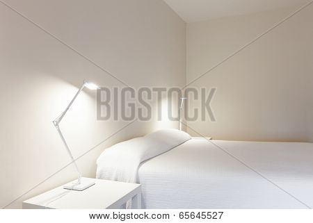Interior house, white bedroom, double bed
