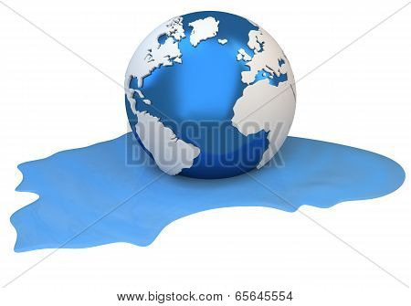 3D Earth Globe Melting Into Water