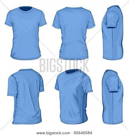 All views men's blue short sleeve t-shirt design templates (front, back, half-turned and side views). Vector illustration. No mesh.