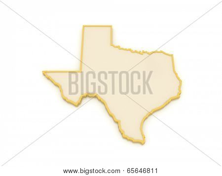 Three-dimensional map of Texas. USA. 3d