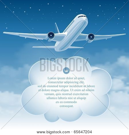 Passenger plane flying in the blue sky over white clouds. There is a place for your text.