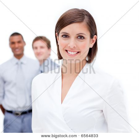 Female Manager In Front Of Her Team