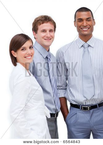 Smiling Multi-ethnic Business People Standing Together