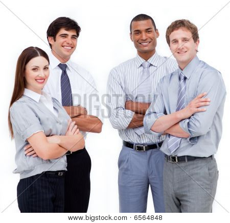 Portrait Of Confident Business People With Folded Arms