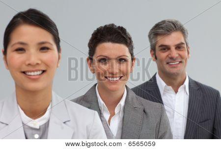 International Business Team In A Line