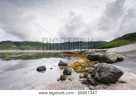 Rocky coast at an Norwegian fjord.