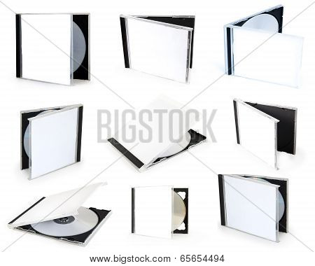 collection cd boxes isolated on the white background