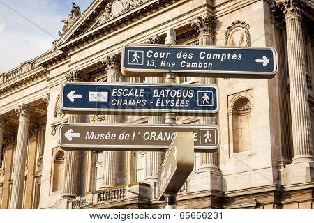 Signposts In Paris Centre
