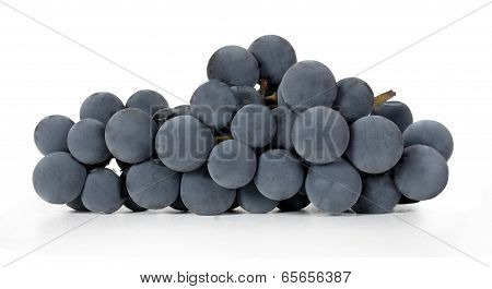 bunch of purple grapes isolated on white background