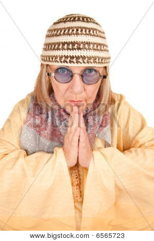 Crazy New Age Woman In A Yellow Robe