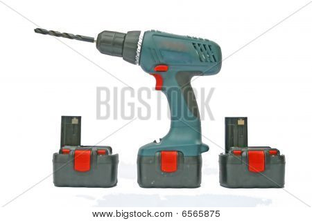 Drill and batteries.