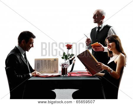 couples lovers dinning in silhouettes on white background