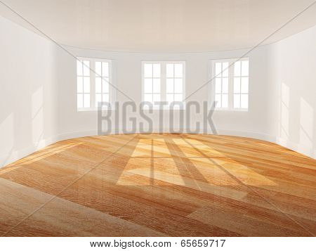 Empty room with bow window