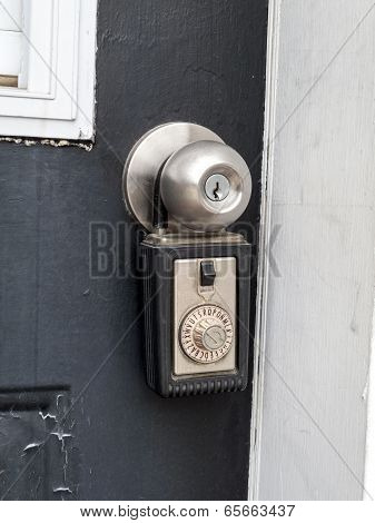 Close-up of a combination lock in a doorknob