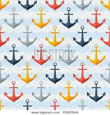 Nautical seamless pattern with anchors in flat design style.
