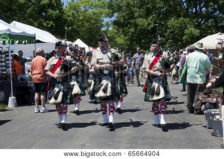 City of Winchester Pipes and Drums performing at the Delaplane Strawberry Festival in Delaplane, Vir