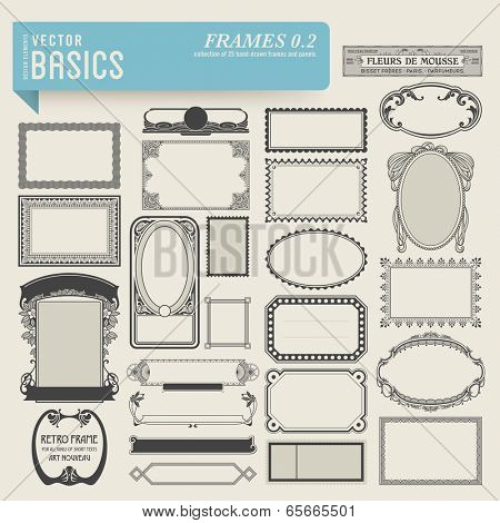 vector basics: frames (2) - set of 25 hand-drawn frames and panels in various styles