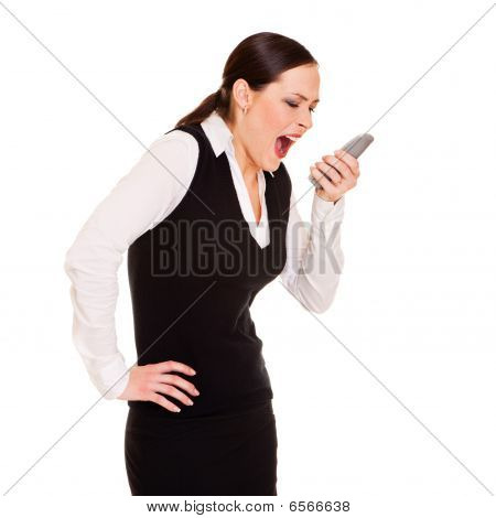 Angry Businesswoman With Phone