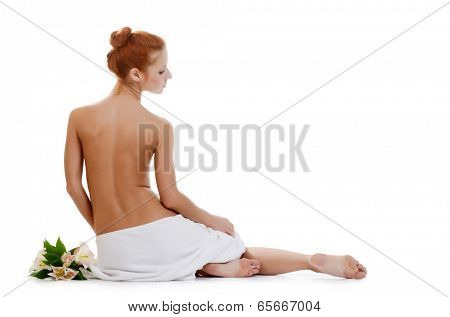Spa Woman with flowers of lily isolated