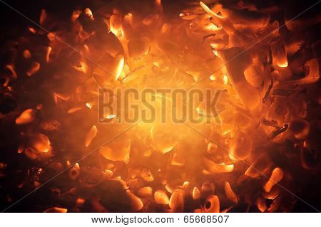 Bright Burning Coals Abstract Photo Background