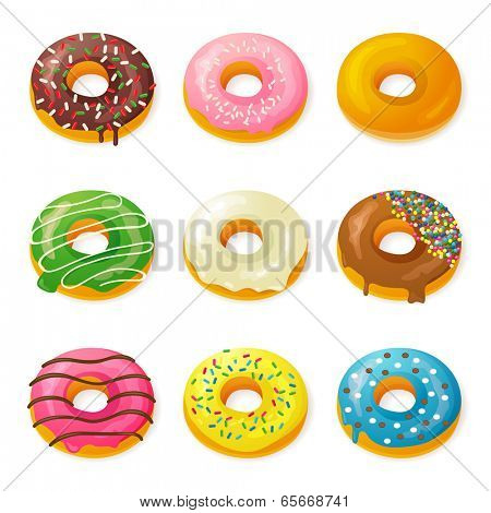 Set of 9 tasty donuts
