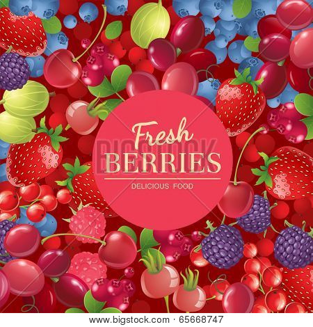 Bright  background with different berries