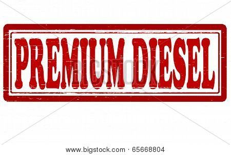Stamp with text premium diesel inside vector illustration
