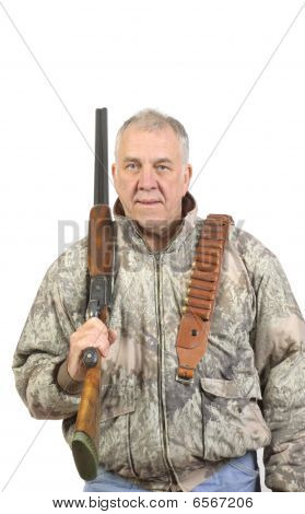 Older Hunter In Camo With Shotgun