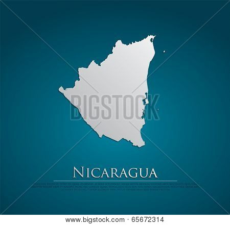 vector Nicaragua Map card paper on blue background, high detailed