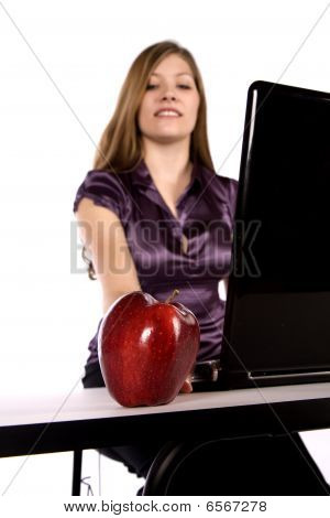 Apple And Business Woman