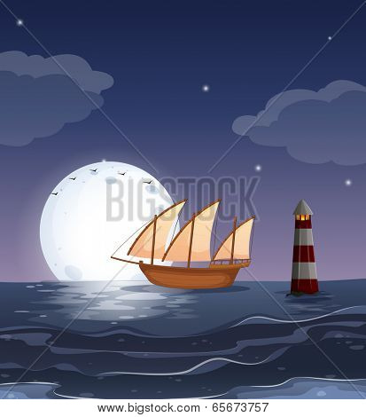 Illustration of a wooden boat in the ocean