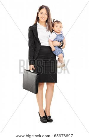 Full length portrait of a single mother holding her baby daughter isolated on white background