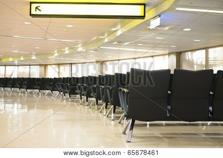 Waiting Room With Empty Chairs.