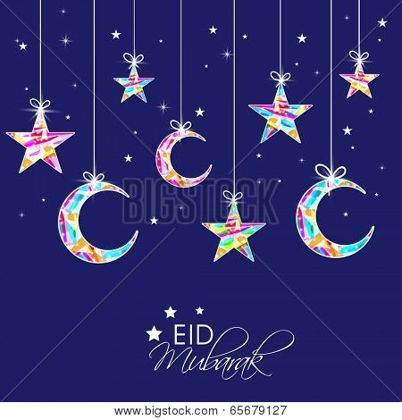 Eid Mubarak celebrations greeting card design with hanging colorful stars and moon on blue background.